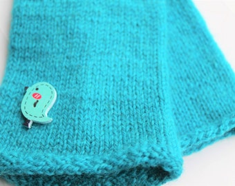 Blue gloves wool knitted felted finger gloves Turquoise woman mittens blue mittens turquoise with wooden button bird GIFT FOR HER