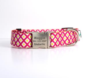 Pink Diamond Design Dog Collar with Personalized Laser Engraved Buckle - Raspberry and Yellow