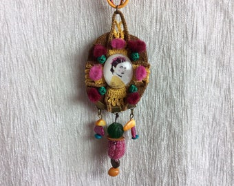 Necklace made in leather, crochet and Pasamaneria with Frida Kahlo cameo Handmade unique piece