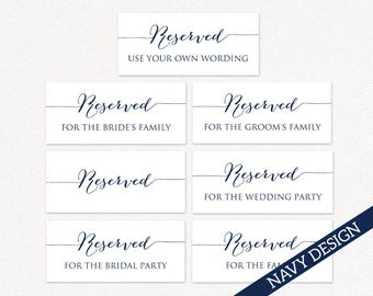 Printable Reserved Wedding Signs, Reserved Table Signs, Wedding Printables, Wedding Reception Signs, PDF Instant Download