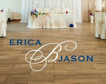 Dance Floor Monogram - Wedding Dance Floor Decal - Vinyl Floor Decal
