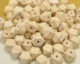Wholesale 14mm Geometric Faceted Cube Wood Beads 100PC Natural Unfinished Unpainted Polyhedron wooden bead for Crafts Jewelry