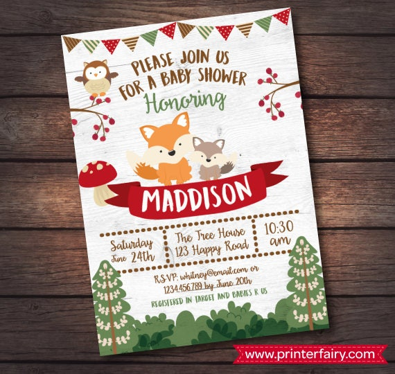 Woodland Baby Shower Invitation Enchanted Forest Baby Shower