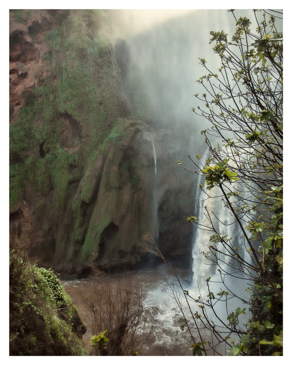 Nature Photograph, Waterfall Art, Green and Brown Colors, Landscape Waterfalls, Home Decor, 5x7 8x10, fine art photography, Morocco Wall Art