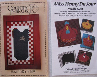 Chicken Pattern Lot, Country Threads Chicken Wall Quilt Pattern, Chicken Needle Keeper Pattern, Quilt Pattern Assortment, 2 patterns