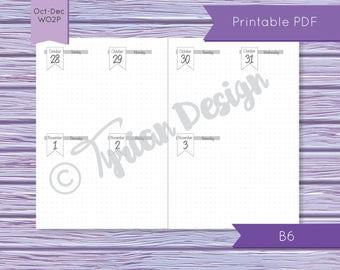 B6 WO2P October - December 2018 Calendar for Midori Traveler's Notebook, B6(Foxy #5) Dated October - December 2018 (Digital Files) - Flag