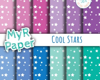 "Star Digital Paper Pack: ""Cool Stars"" - Printable Background - starry, white stars, Baby Shower - 12x12 - Digital Scrapbooking"