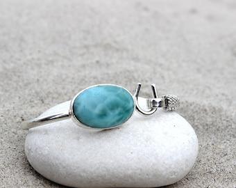 Larimar Oval Bangle Bracelet