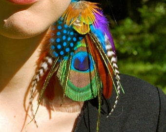 GYPSY MAGICK Peacock Feather Earrings