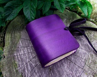 Purple Leather {Mini Size} Hand Dyed Traveler's Notebook Journal, Pocket size, Midori Style