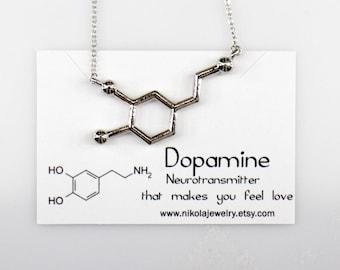 Silver Dopamine Molecule Necklace, Chemistry Necklace, Hormone Dopamine, Biochemistry Molecule Love Signal Pendant Biology Jewelry