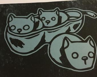 Peapod cats (original black ink block print on grey cardstock)