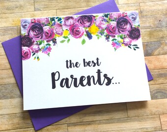 Pregnancy Reveal to Parents Card - Pregnancy Announcement Card - New Grandparents - We Are Having a Baby Card - I'm Prego Card - VIOLETS