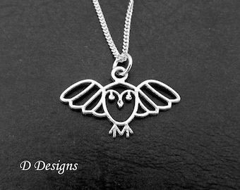Owl Necklace, Owl Pendent, Owl Jewellery, Owl Lovers Gift, Silver Charm Necklace, Silver Necklace, Bird Necklace