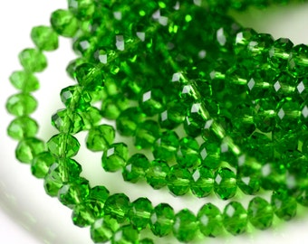 Christmas Green Faceted Crystal Rondelle Beads  50