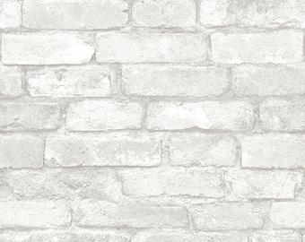 NU1653 Light Grey and White Brick Peel & Stick Wallpaper