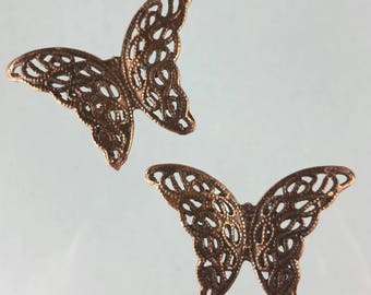 Butterfly copper pewter filigree pendant