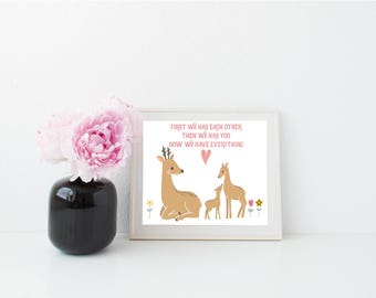 Family Print, Family Art, Animal Family Print, Deer Print, New Baby Print, New Baby Art, New Family Print, New Family Gift