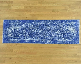 "2'7""x5'10"" Wool and Silk Hand-Knotted Broken Persian Design Runner Rug"