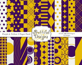 Yellow and Purple Sports Team Digital Paper