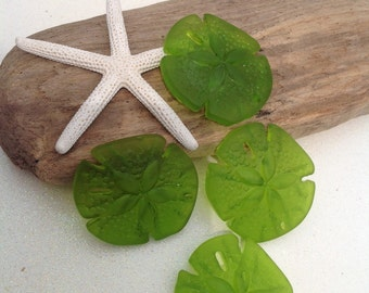 Sale~Sea Glass Beads~Sand Dollar Bead~Seaglass Jewelry ~Supplies~frosted peridot Green Sand dollar~ tumbled beach glass-frosted~sea bead