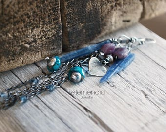 Long Chain and Gemstone Earrings Heart Charm Dangling Sterling Silver Gemstones Letemendia Jewelry Handmade Boho