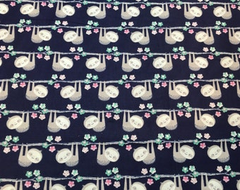 Adorable Sloth Fabric ~ FREE GIFT w/ every purchase ~ FQ ~ Fat Quarter ~ Hanging Sloth ~ Navy ~ Flowers ~ Quilting Fabric ~ Animal Fabric ~
