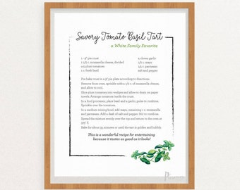 Custom Personalized Recipe Printable - Digital Download, Kitchen Herbs Recipe Art