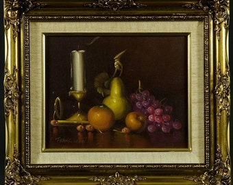 American Modern Still Life with Fruit Oil Painting by Frank Lean