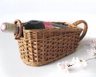 Refined French Wine Bottle Basket Holder, french wicker wire basket, wine baket carrier