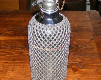 Vintage Sparklets Glass Seltzer Bottle with Metal Wire Mesh Cover