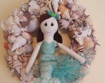Shelli - Handmade cloth mermaid doll, 15 inch. (Shell wreath not included)