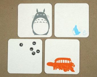 Totoro Letterpress Coasters - Set of 4