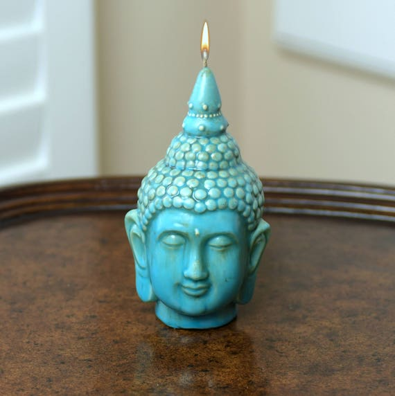 Beautiful Buddha Candle in Ceramic Turquoise