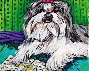 Shih Tzu Reading a Book Dog Art Tile Coaster