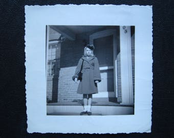 Lonely Girl... 1940's Vintage Photo... Original Vintage Snapshot Photograph