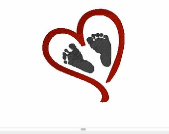 Heart with Baby Footprints Embroidery Designs,Embroidery files,Valentines Day Embroidery Designs,Baby Valentines Day Designs,Embrodiery