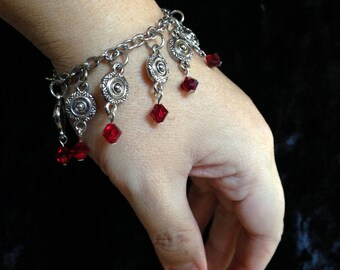 Gothic Gypsy Vampire Bracelet in Antique Silver with Blood Drop Red Crystal Dangles OOAK Upcycled Vintage