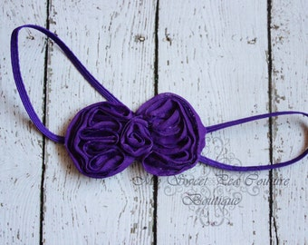 Purple Mini Bow Headband- Baby Headbands- Newborn Headbands- Infant Headbands- Toddler Headbands- Girls Headbands
