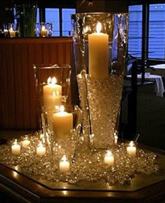 Wedding diamond crystal confetti candle centerpiece decoration junglespirit Gallery