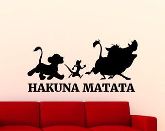 Hakuna Matata Lion King Wall Decal Disney Cartoon Timon Pumbaa Vinyl Sticker Home Bedroom Nursery Boy Baby Kids Room Art Decor Mural 38bu
