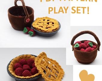 Crochet Food Patterns, Play Food set, Amigurumi Food set, Play Food, Strawberry Play Set, Basket pattern, Crochet Pie Pattern