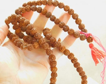 Antique Rudraksaha Seed Rosary Nepal Buddist Hindu Counting Mantras Chants Prayers Rosary 108 Beads