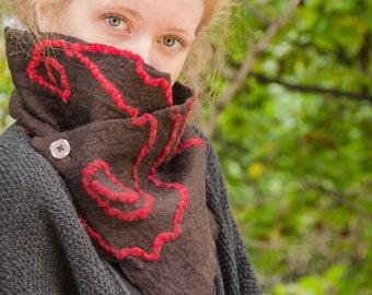 Felt collar with cotton yarns fuxia/Felt scarf/Warm felt/Eco friendly/Gift ideas/wool collar for winter