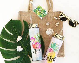 Tropical Tumbler Tropical Bridesmaid Gift Ideas Tropical Bachelorette Tumblers Beach Bridesmaid Gifts Tropical Water Bottle  (EB3113TPB)