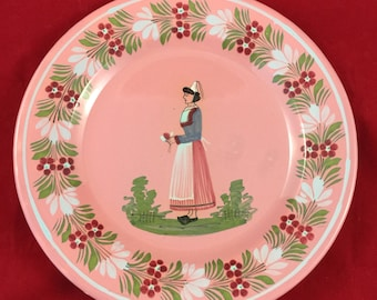 Antique Pink Quimper Plate Country Woman Henroit Quimper France hand painted pottery dinnerware rustic vintage floral flowers home decor