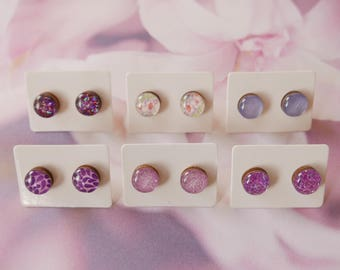 Purple Glitter Earrings 10mm Glossy Stud Earrings FREE SHIPPING