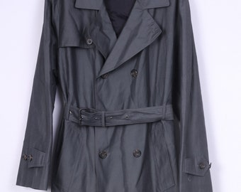 Jaspal Mens 50 M Trench Coat Double Breasted Grey Outwear Overcoat Vintage