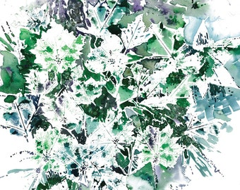 Summer Leaves, Abstract Leaves, Green and Blue