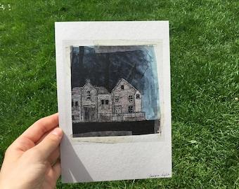 Ghost House illustration, signed art print